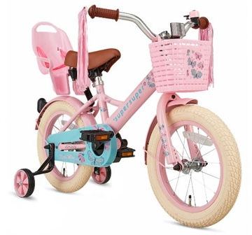 14 tommer pigecykel Little Miss Super Super roze